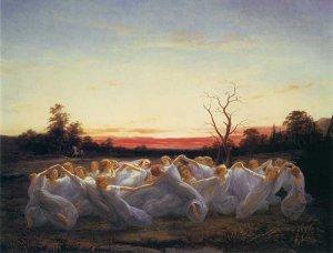 """Ângsälvor (""""Luční álfové""""), Nils Blommér (1850)"""