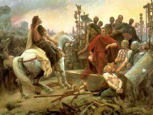 Vercingetorix odhazuje k nohám Julia Cæsara svou výzbroj, autor Lionel Noel Royer (1899)
