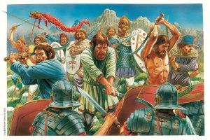 Dákové masakrující římské legionáře, kteří neměli výstroj vhodnou k  tomu, aby se vypořádali s Dáky, vyzbrojenými svou národní zbraní - falx. Římané střetnutí s Dáky, jejichž srpy prořezávaly jejich helmy, štíty a vůbec všechno, natolik šokovalo, že kvůli tomu své helmy vylepšili– cpž byl jedno z mála vylepšení zbroje v klasickém starověku