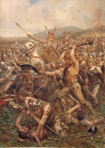 Jihoskandinávci (chybně zobrazeni s rohatými helmami …) v bitvě proti Římanům, autor Otto Albert Koch
