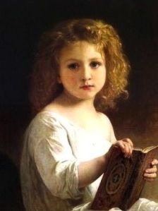 peinture-bouguereau-meditation-enfantine-tableaux-jean-jacques-rio-galerie-arts-decoration-auray-golfe-morbihan-attention-a-la-peinture